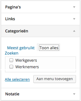Categorie in Menu