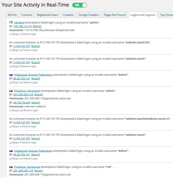 Wordfence Your site activity in real time