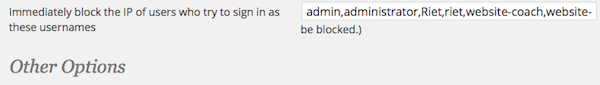 Wordfence-immediately block IP of users who try to sign in as these usernames